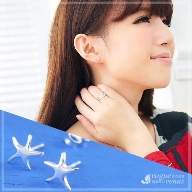 【維克維娜】蔚藍星情。立體造型小海星貼耳耳環。925純銀耳環