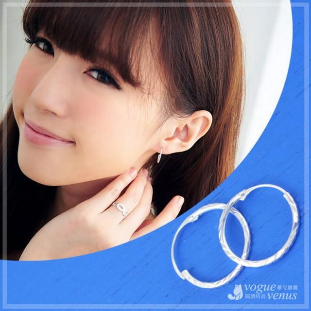 【維克維娜】微春優雅。經典百搭款圈圈造型耳環。925純銀耳環