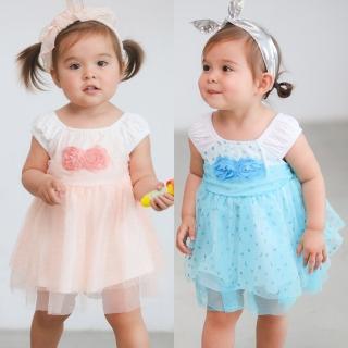 【baby童衣】無袖立體玫瑰花亮片網紗裙 52353(共二色)