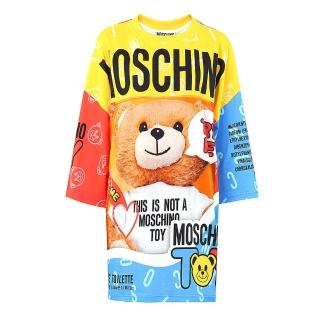 【MOSCHINO】熊熊圖案七分袖長版洋裝(黃色拼藍紅)