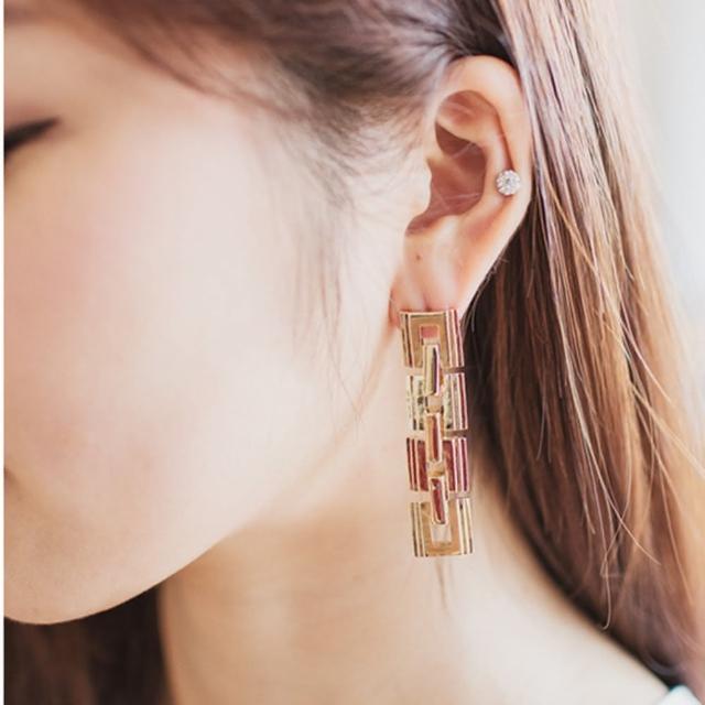【梨花HaNA】韓國 空運幾何方塊長耳環金色