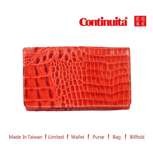 【真皮屋 CONTINUITA】MIT 鱷魚紋手拿包(紅色)