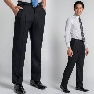【極品西服】簡約紳士條紋仿毛打褶西褲 黑(BS438-2)