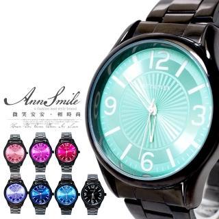 【微笑安安】放射亮彩圓盤中性款鐵帶男女情侶款手錶(共8色)