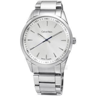 【Calvin Klein】Bold 卓越自信不鏽鋼腕錶 銀白色 40mm(K5A31146)