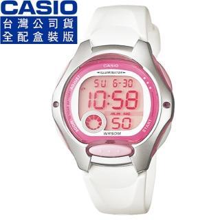 【CASIO】卡西歐鬧鈴多時區兒童電子錶-粉紅白(LW-200-7A)