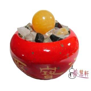 【養慧軒 12H】鶯歌陶瓷 吉祥紅聚寶盆+五行水晶碎石800g+黃玉圓球(聚寶盆瓶身直徑11.5cm)