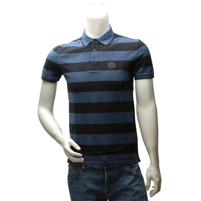 【ARMANI JEANS】經典純棉粗條紋立領短袖POLO衫(藍X黑V6M09-BLUE-BLACK)