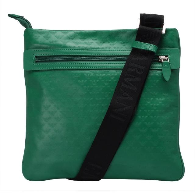 【EMPORIO ARMANI】滿版LOGO小牛皮方型斜背包(綠YEMF24-YC043-80464)
