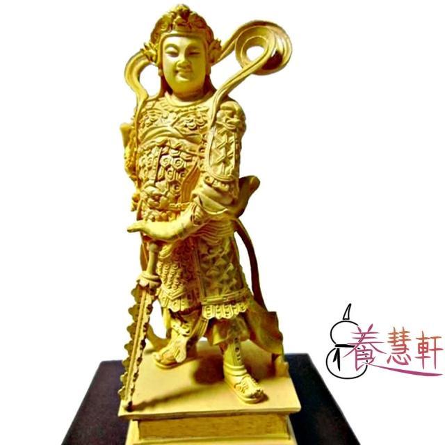 【養慧軒】金剛砂陶土精雕佛像 韋駝護法(木色、含木製底座)