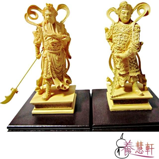 【養慧軒】金剛砂陶土精雕佛像 迦藍與韋駝護法(木色、2尊一組、含木製底座)