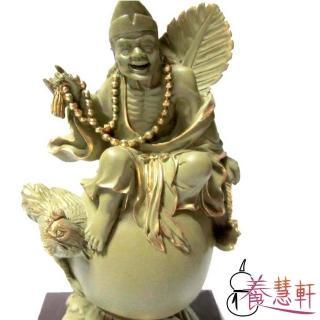 【養慧軒】金剛砂陶土精雕佛像 4吋 石岩濟公(石色金邊  含底座)