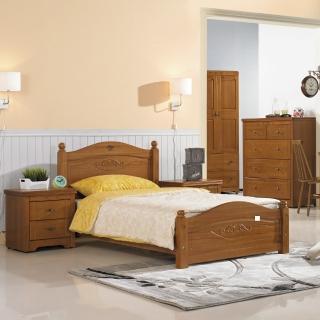 【綠活居】凡斯 3.5尺柚木色實木單人床台(不含床墊)