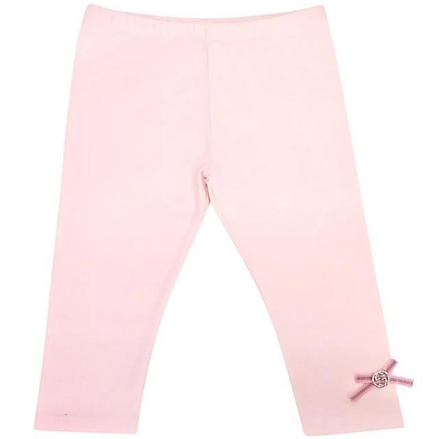 【GUCCI】雙G蝴蝶結嬰幼兒長褲-粉紅色(9/12 MONTHS)