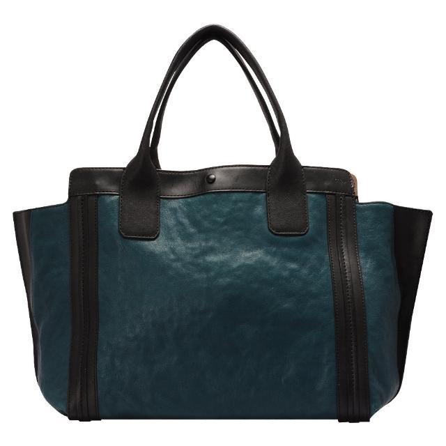 CHLOE 經典Alison系列撞色拼接牛皮手提包(小-黑X熱帶藍)3S0164-703-75C