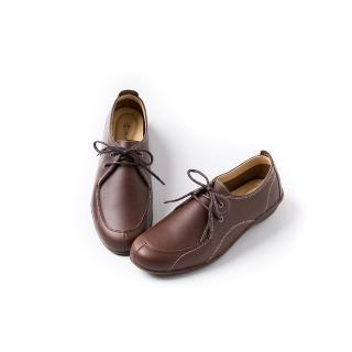 【ALAIN DELON】真皮舒適百搭女休閒鞋W7537(4色 黑色 棕色 咖啡色 紅色)