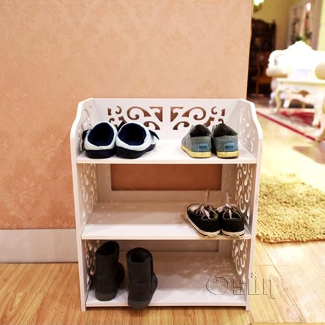 【Osun】DIY木塑板置物架 歐式白色雕花三層鞋架(CE-178-XJ-001)