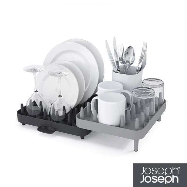 【Joseph Joseph 英國創意設計餐廚】可調式碗盤瀝水架三件組-灰(85035)