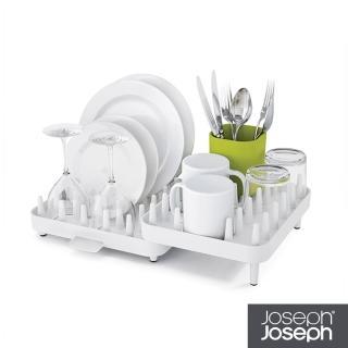 【Joseph Joseph 英國創意設計餐廚】可調式碗盤瀝水架三件組-白綠(85034)