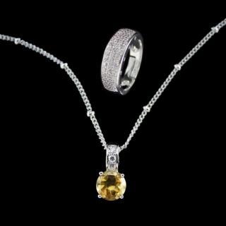 【xmono】開運彩寶系列項鍊戒指套組(天然黃水晶)