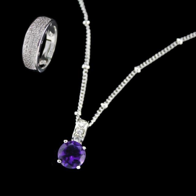 【xmono】開運彩寶系列項鍊戒指套組(天然紫水晶)