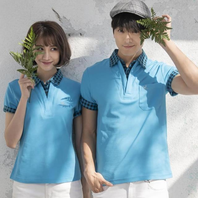 【LEIDOOE】格紋領假兩件女版短袖POLO衫-藍色(16610)