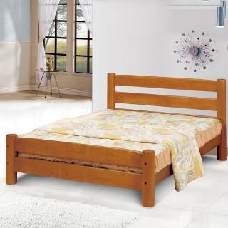 【綠活居】艾卡菲 柚木色實木5尺雙人床台