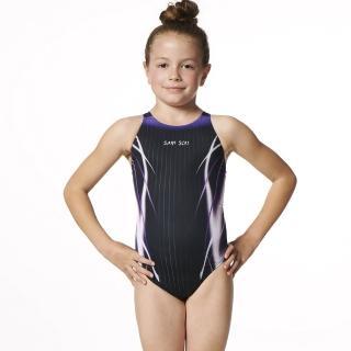 【SAIN SOU】競賽/泳隊女童連身三角泳裝(附泳帽A87407-01)