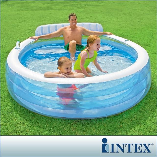 【INTEX】圓型藍色有靠背游泳池 590L(57190)