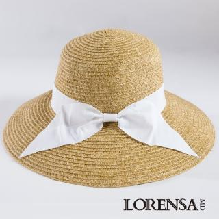 【Lorensa蘿芮】都會款配色緞帶大帽簷抗UV遮陽帽(白色草帽)
