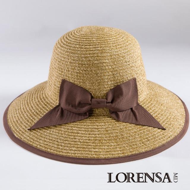 【Lorensa蘿芮】都會款配色蝴蝶結大帽簷抗UV遮陽帽(咖啡色)