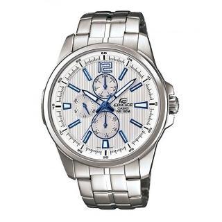 ~CASIO~EDIFICE 簡約 直紋三眼鋼帶腕錶~銀白^(EF~343D~7A^)