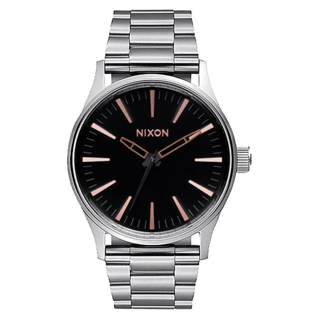 【NIXON】SENTRY 38 SS 極簡復刻化時尚腕錶-黑X灰(A4502064)