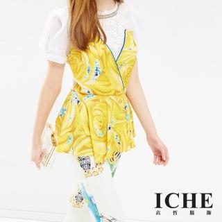 【ICHE 衣哲】馬甲式花卉雕花拼接造型上衣