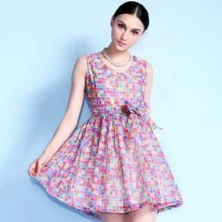 【a la mode 艾拉摩兒】印花V領無袖綁帶大擺圓裙連衣裙洋裝(S-XL)