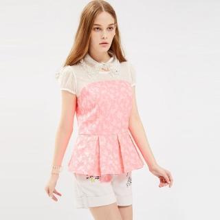 【ICHE 衣哲】蕾絲拼接提花馬甲式打摺造型上衣