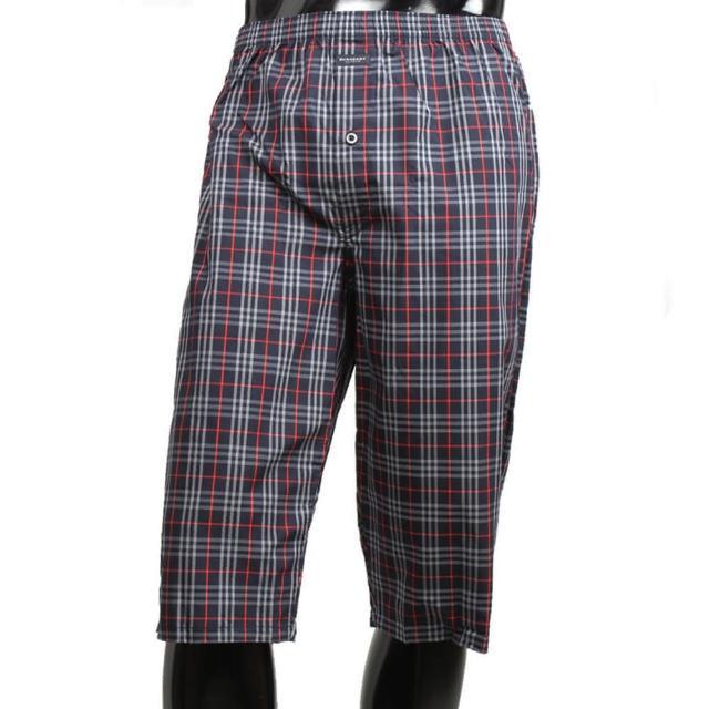 【BURBERRY】經典格紋棉質五分居家短褲(深藍)
