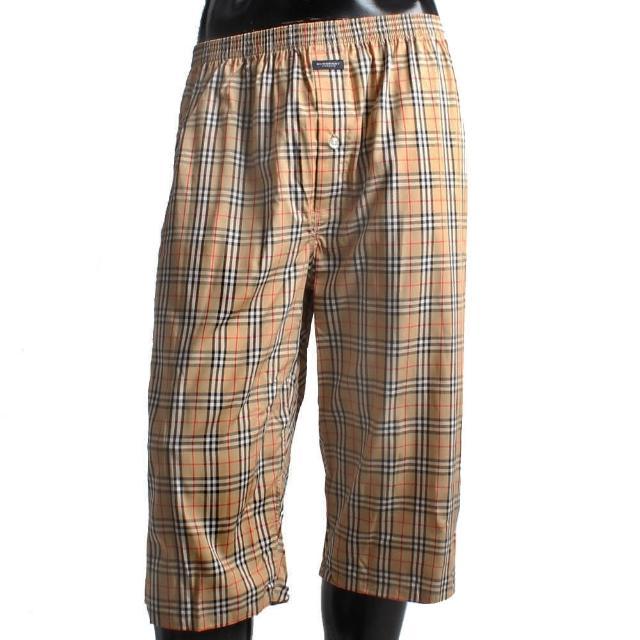 【BURBERRY 巴寶莉】經典格紋棉質五分居家短褲(駝色)