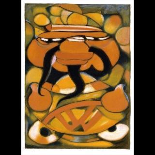 【劉其偉藝術典藏】親筆簽名限量發行石版畫(民俗系列--財神)