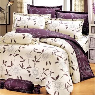 【艾莉絲-貝倫】花香樂譜(6.0呎x6.2呎)六件式雙人加大(100%純棉)鋪棉床罩組(米色)