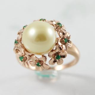【金玉滿堂】頂級天然金珍珠戒(圓珠10mm)