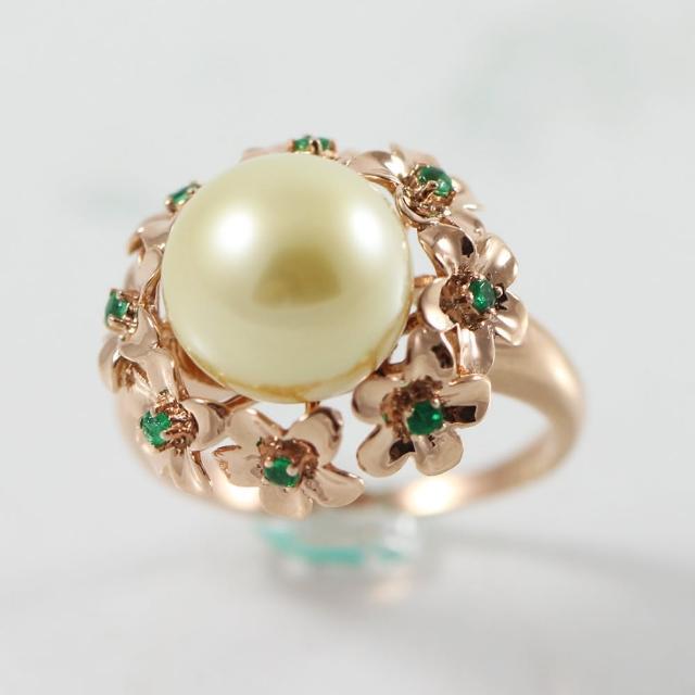 【金玉滿堂】頂級天然金珍珠戒(圓珠10mm)買到賺到