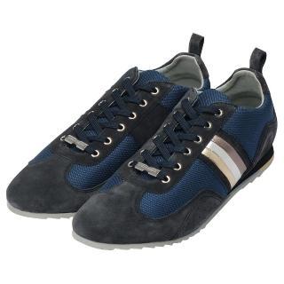 【DOLCE&GABBANA】三色斜紋造型麂皮休閒鞋(藏藍X深藍CS0716-A9S34-8S956)