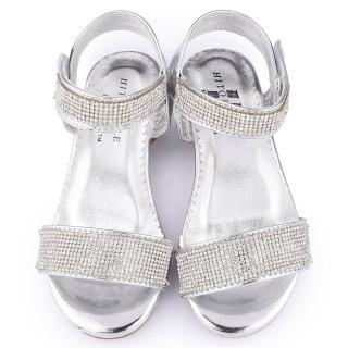 【童鞋城堡】日本娃娃 中童 華麗水鑽低跟涼鞋(9581-銀)