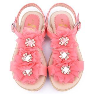 【童鞋城堡】日本娃娃 中大童 法式浪漫乳膠涼鞋(9277-桃)