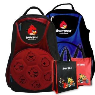 【Angry Birds憤怒鳥】足球造型硬殼書背包+手提萬用袋(紅/藍 AB4_1+1)