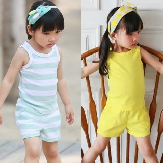 【baby童衣】女童套裝 無袖滾邊上衣+休閒短褲 51013(共三色)