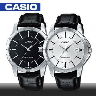 【CASIO 卡西歐】皮革帶 日期 刻度男錶 鏡面4.15公分(MTP-V004L)