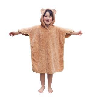 【雪花絨】兒童連帽浴巾(潤駝色)