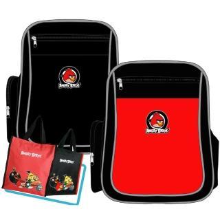【Angry Birds 憤怒鳥】MIT元氣護脊書背包+直立式手提萬用袋(紅/黑 AB2)